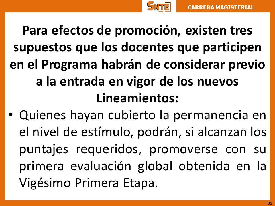 Para efectos de promoción, existen tres supuestos que los docentes que participen en el Programa habrán de considerar previo a la entrada en vigor de los nuevos Lineamientos: