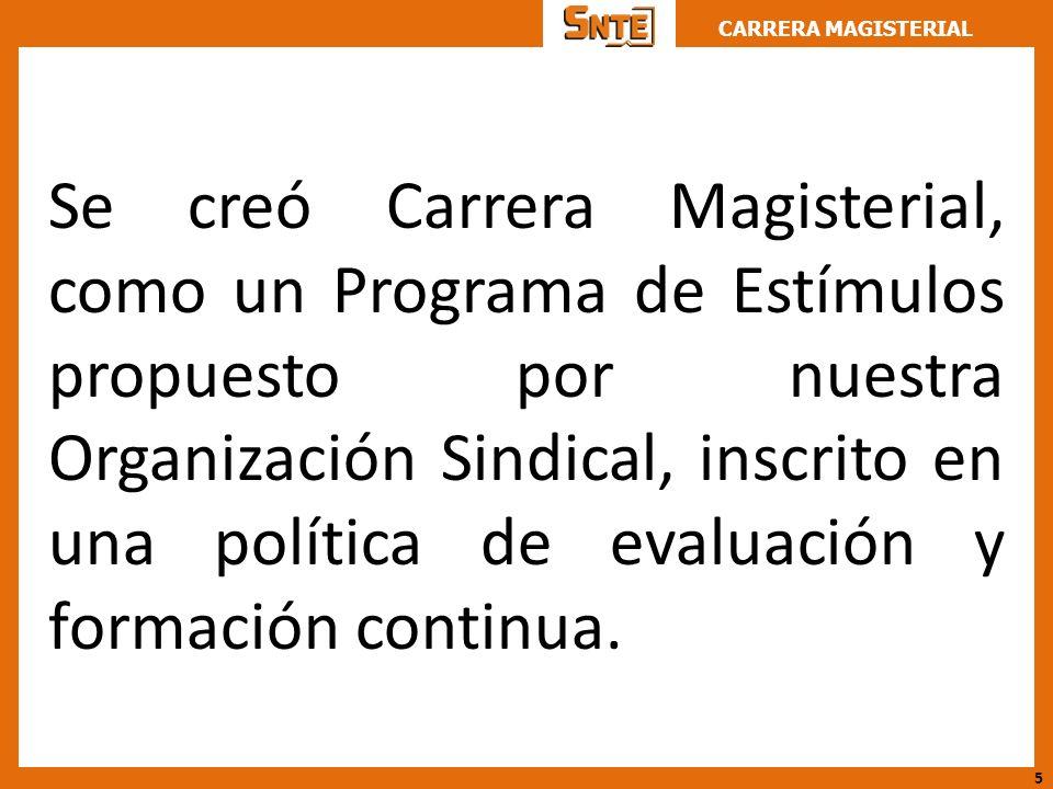 Se creó Carrera Magisterial, como un Programa de Estímulos propuesto por nuestra Organización Sindical, inscrito en una política de evaluación y formación continua.