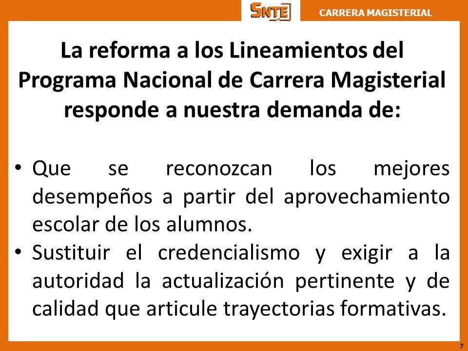 La reforma a los Lineamientos del Programa Nacional de Carrera Magisterial responde a nuestra demanda de: