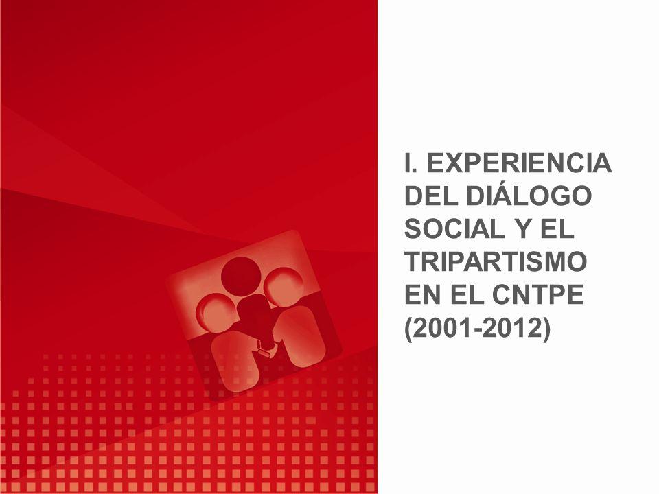 I. EXPERIENCIA DEL DIÁLOGO SOCIAL Y EL TRIPARTISMO EN EL CNTPE (2001-2012)