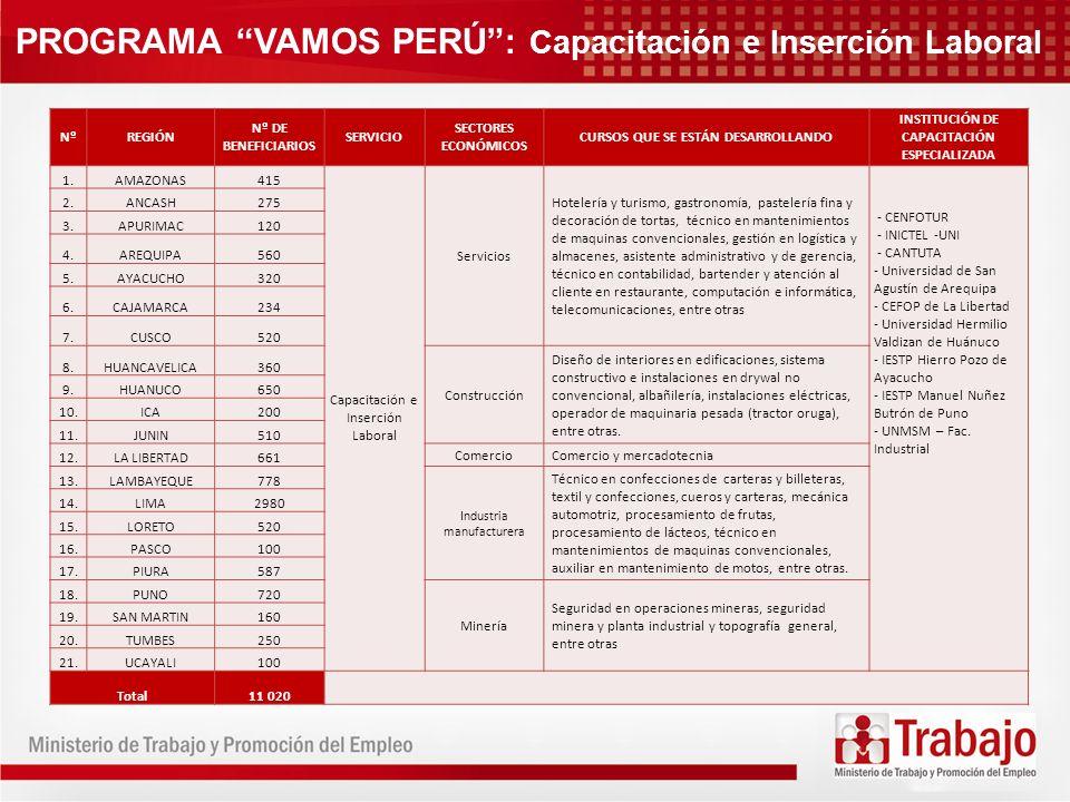 PROGRAMA VAMOS PERÚ : Capacitación e Inserción Laboral