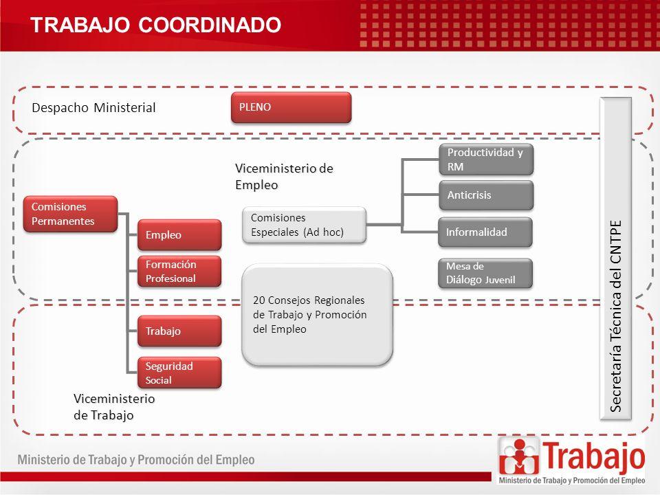 TRABAJO COORDINADO Secretaría Técnica del CNTPE Despacho Ministerial