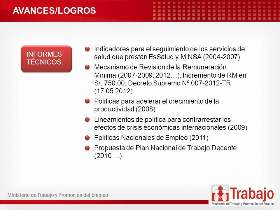 AVANCES/LOGROS Indicadores para el seguimiento de los servicios de salud que prestan EsSalud y MINSA (2004-2007)