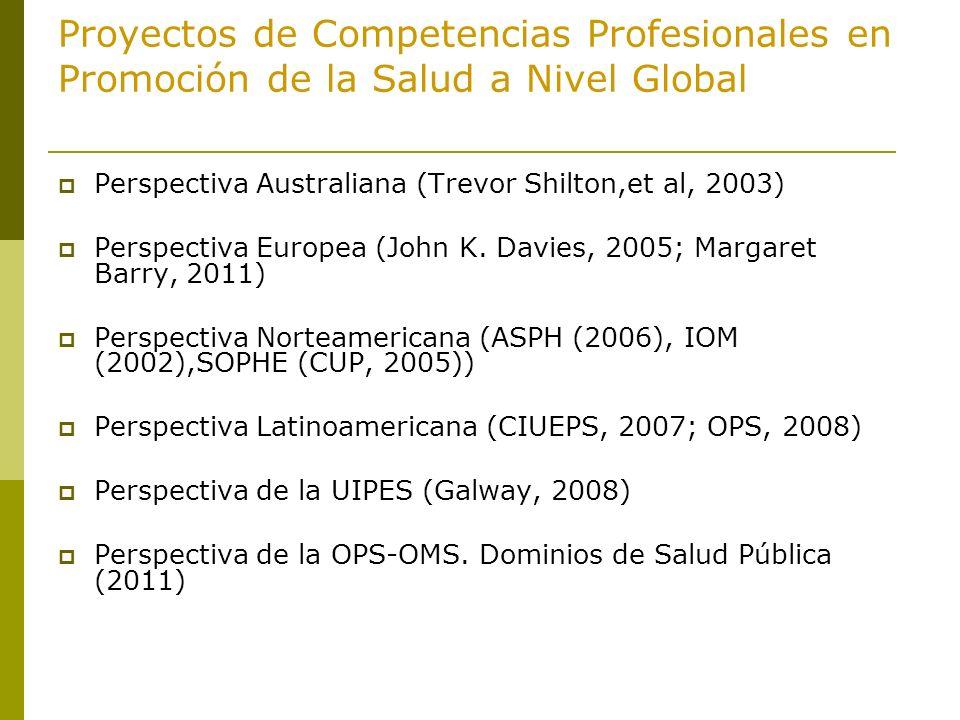 Proyectos de Competencias Profesionales en Promoción de la Salud a Nivel Global
