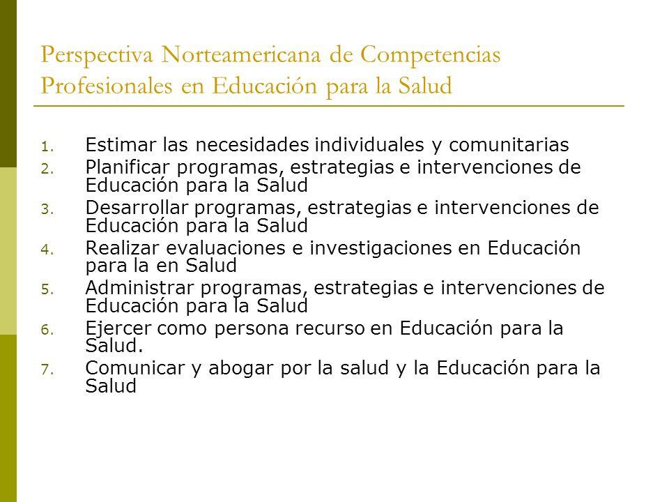 Perspectiva Norteamericana de Competencias Profesionales en Educación para la Salud