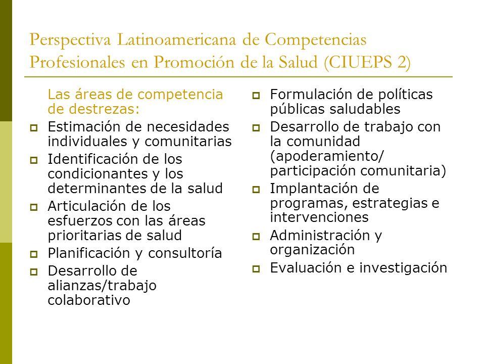 Perspectiva Latinoamericana de Competencias Profesionales en Promoción de la Salud (CIUEPS 2)