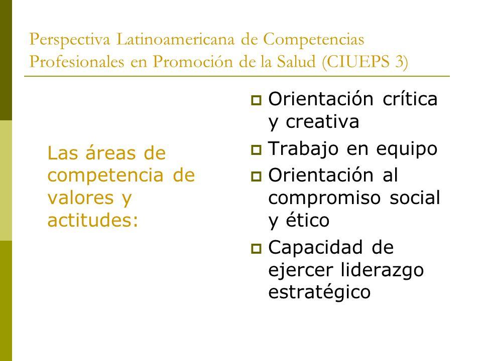 Perspectiva Latinoamericana de Competencias Profesionales en Promoción de la Salud (CIUEPS 3)