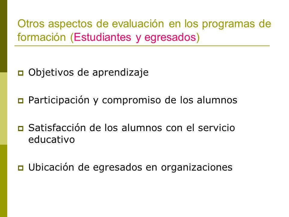 Otros aspectos de evaluación en los programas de formación (Estudiantes y egresados)