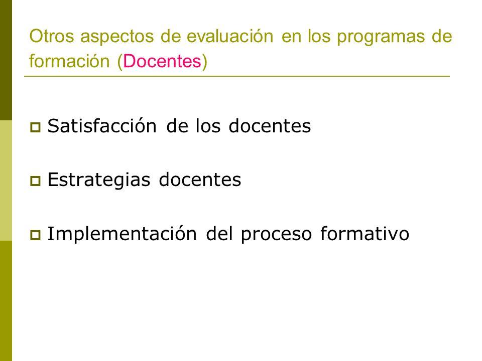Otros aspectos de evaluación en los programas de formación (Docentes)