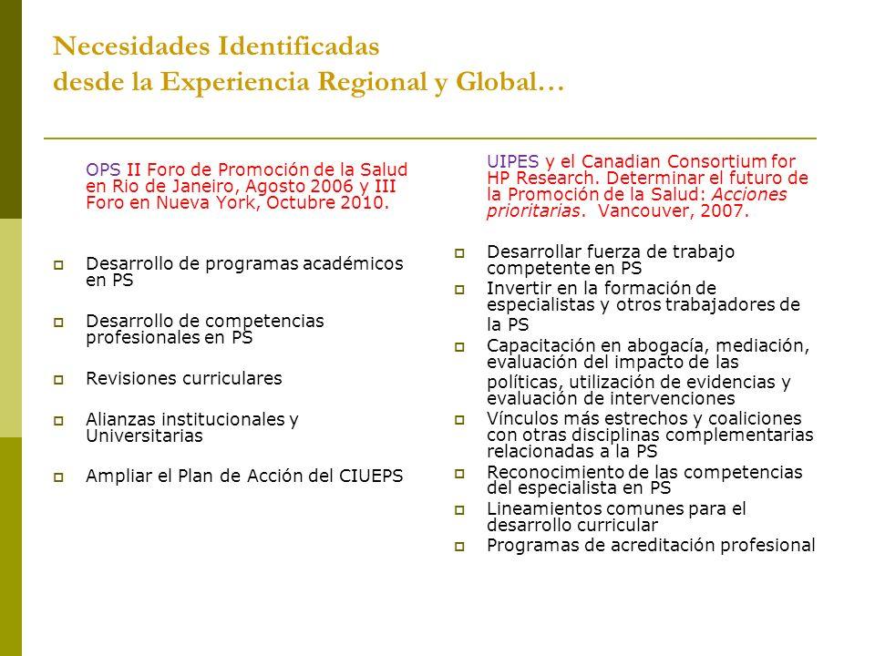Necesidades Identificadas desde la Experiencia Regional y Global…