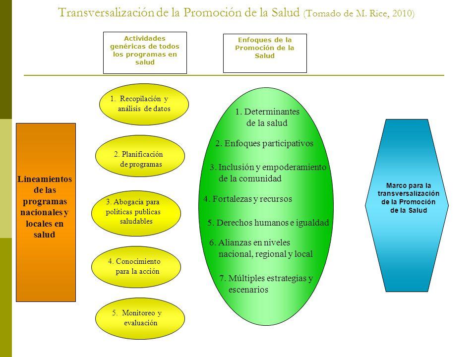Transversalización de la Promoción de la Salud (Tomado de M
