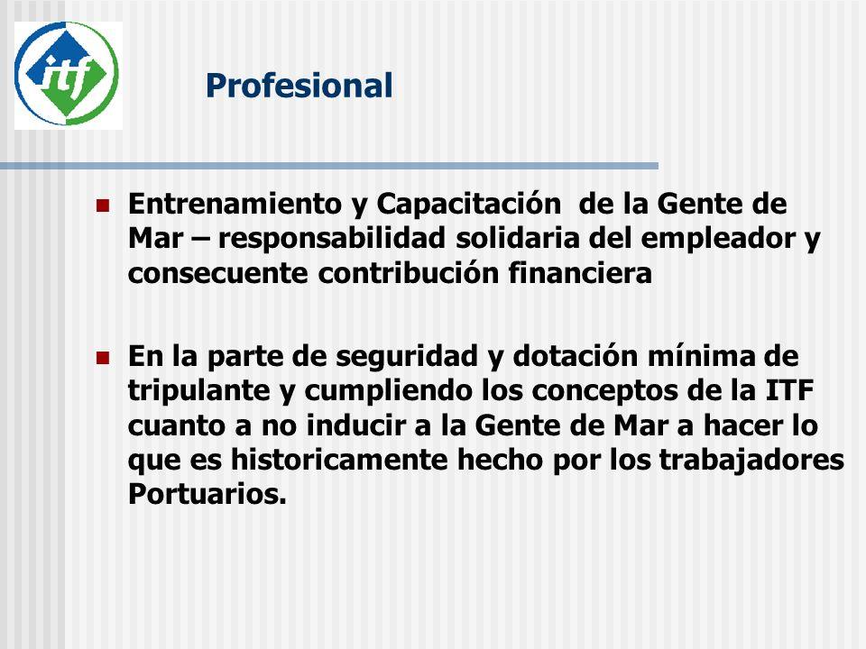Profesional Entrenamiento y Capacitación de la Gente de Mar – responsabilidad solidaria del empleador y consecuente contribución financiera.