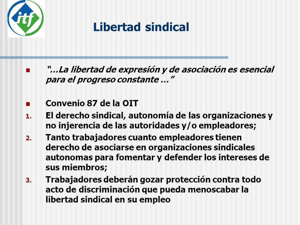 Libertad sindical …La libertad de expresión y de asociación es esencial para el progreso constante …