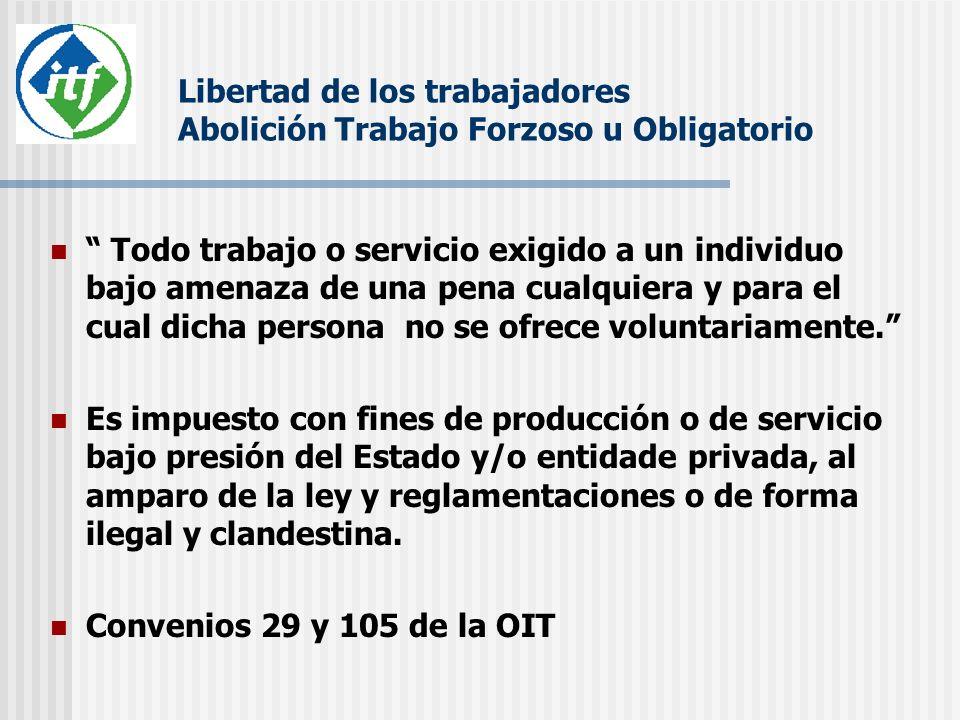 Libertad de los trabajadores Abolición Trabajo Forzoso u Obligatorio