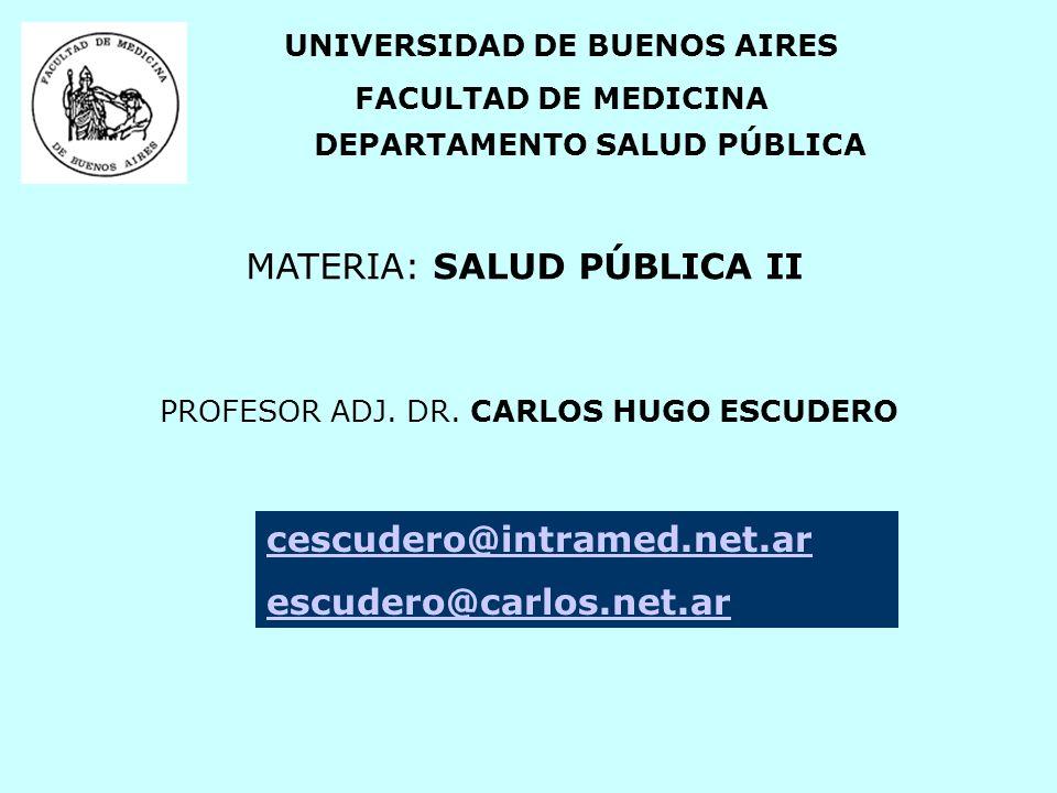 UNIVERSIDAD DE BUENOS AIRES DEPARTAMENTO SALUD PÚBLICA