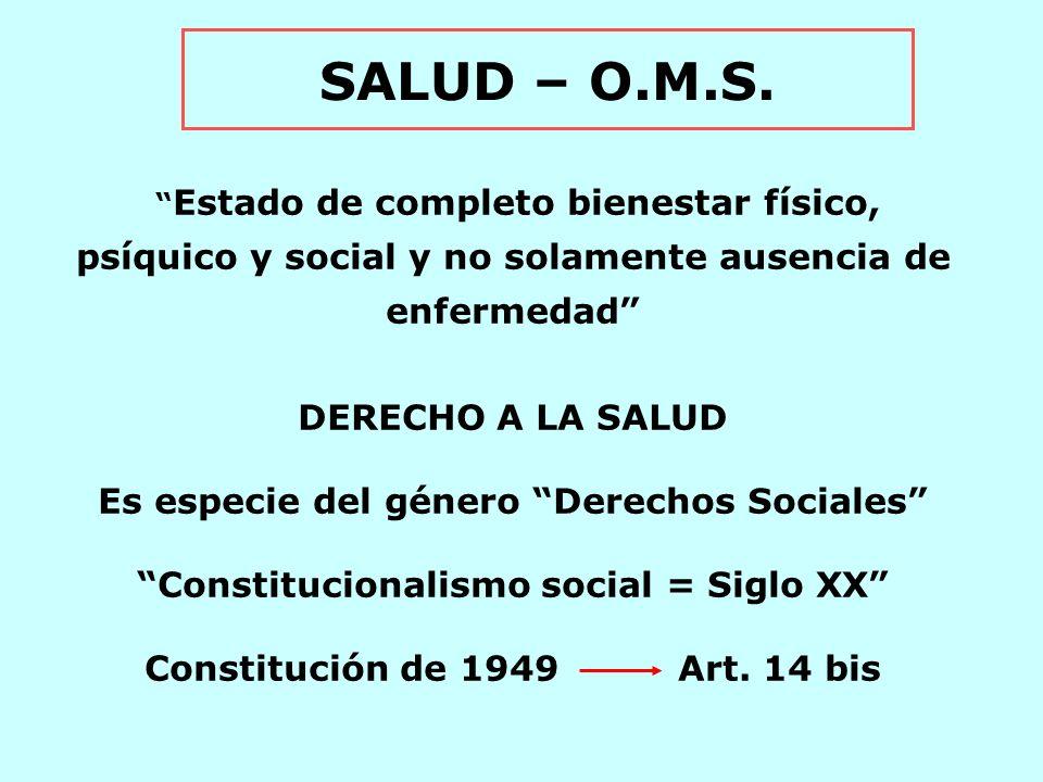 SALUD – O.M.S. DERECHO A LA SALUD