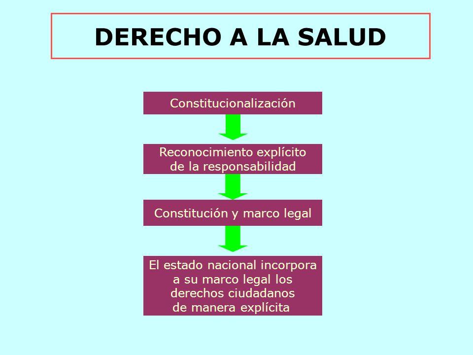 DERECHO A LA SALUD Constitucionalización Reconocimiento explícito