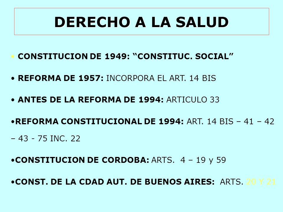 DERECHO A LA SALUD CONSTITUCION DE 1949: CONSTITUC. SOCIAL