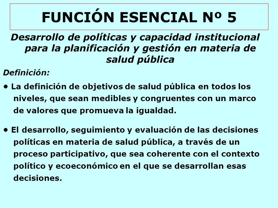 FUNCIÓN ESENCIAL Nº 5 Desarrollo de políticas y capacidad institucional para la planificación y gestión en materia de salud pública.
