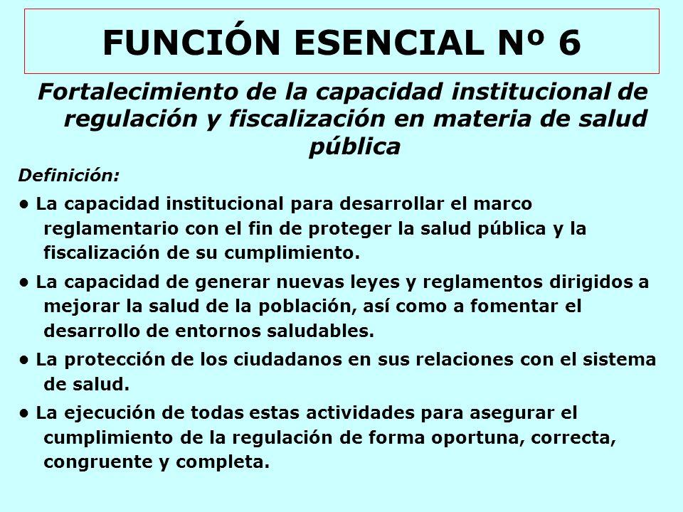 FUNCIÓN ESENCIAL Nº 6 Fortalecimiento de la capacidad institucional de regulación y fiscalización en materia de salud pública.