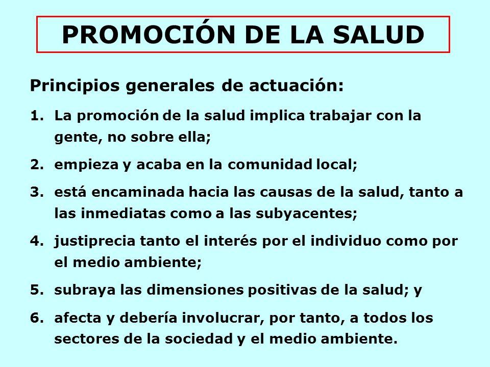PROMOCIÓN DE LA SALUD Principios generales de actuación: