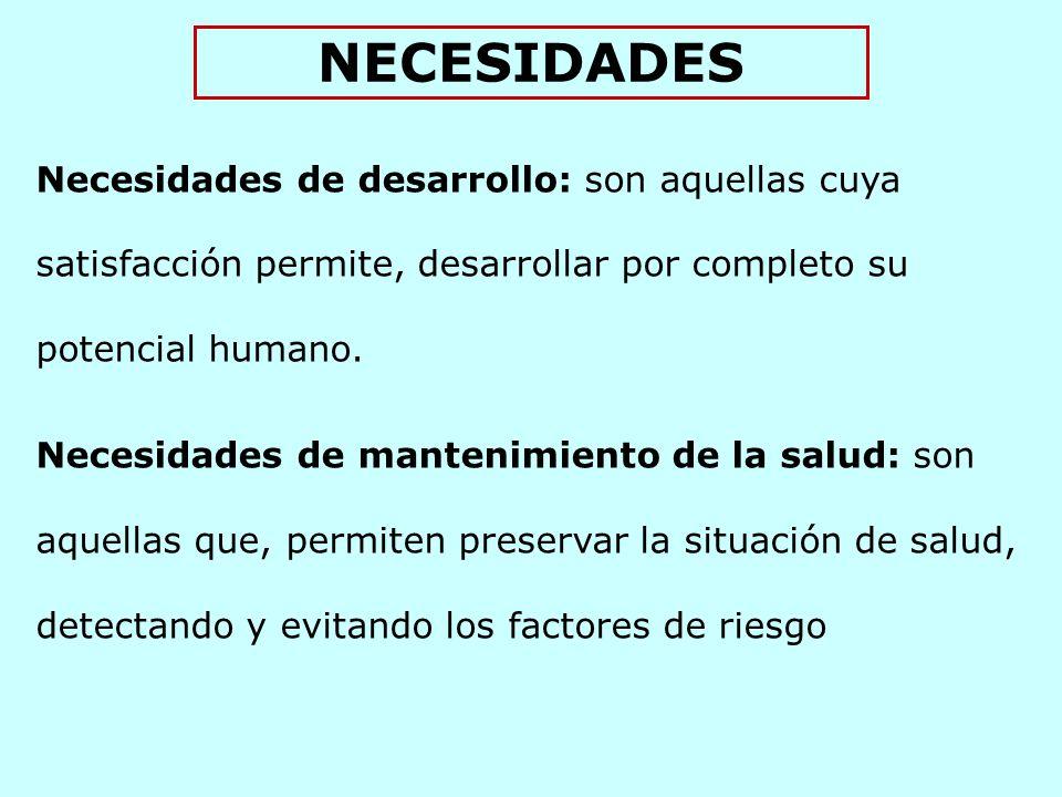 NECESIDADES Necesidades de desarrollo: son aquellas cuya satisfacción permite, desarrollar por completo su potencial humano.