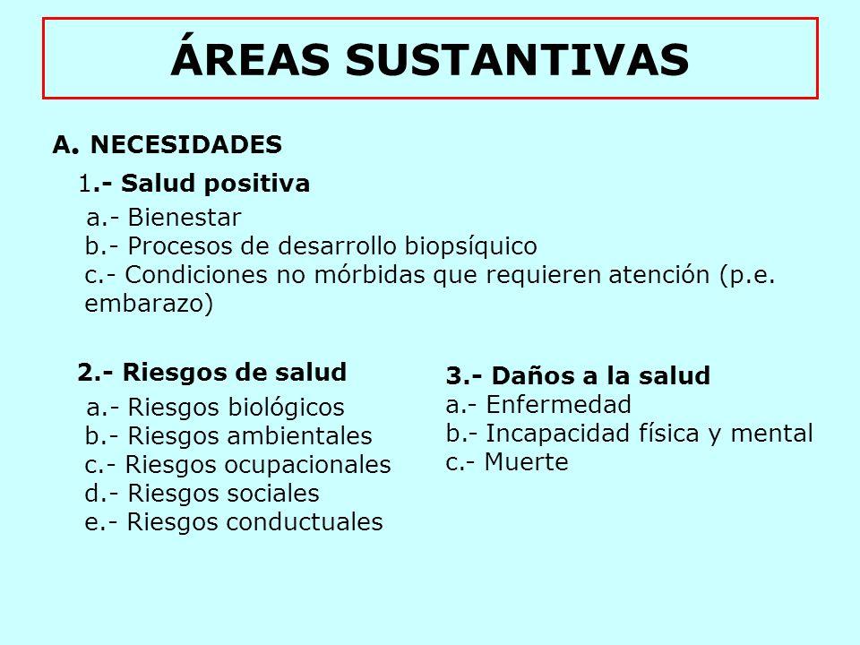 ÁREAS SUSTANTIVAS A. NECESIDADES 1.- Salud positiva