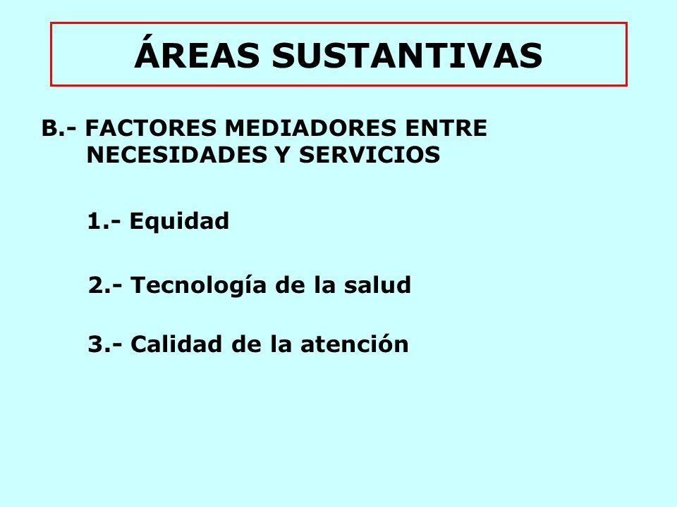 ÁREAS SUSTANTIVAS 1.- Equidad