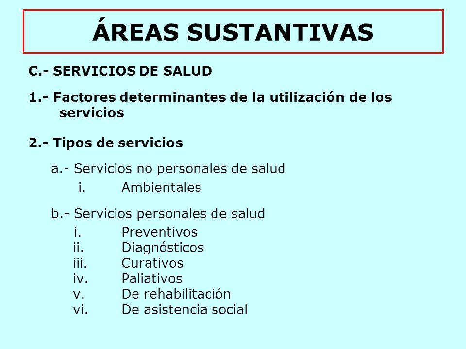 ÁREAS SUSTANTIVAS C.- SERVICIOS DE SALUD
