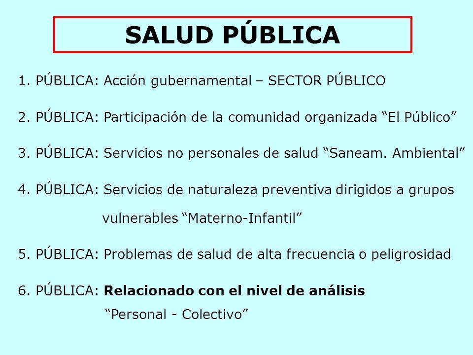 SALUD PÚBLICA PÚBLICA: Acción gubernamental – SECTOR PÚBLICO