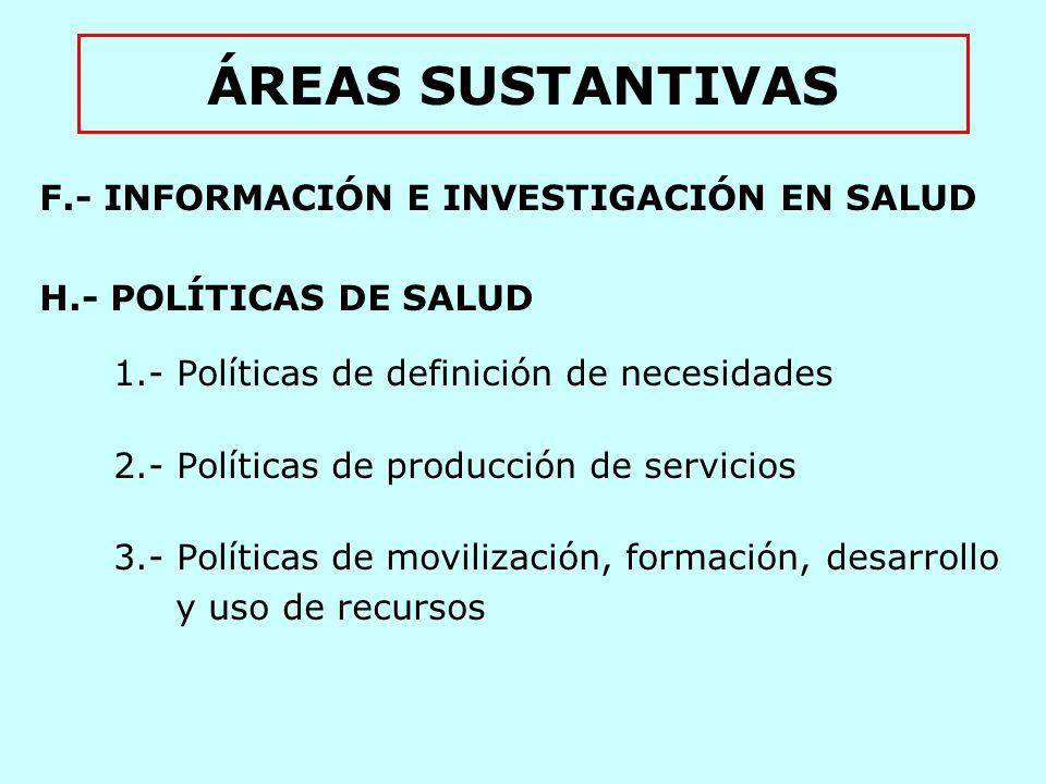 ÁREAS SUSTANTIVAS F.- INFORMACIÓN E INVESTIGACIÓN EN SALUD