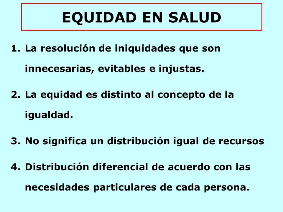 EQUIDAD EN SALUD La resolución de iniquidades que son innecesarias, evitables e injustas. La equidad es distinto al concepto de la igualdad.