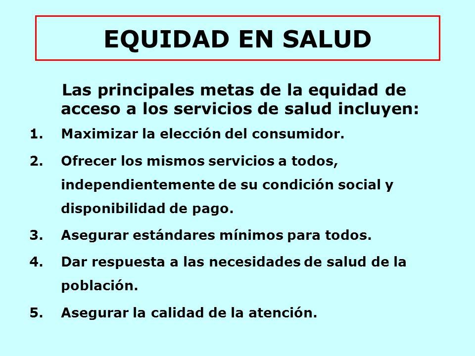 EQUIDAD EN SALUD Las principales metas de la equidad de acceso a los servicios de salud incluyen: Maximizar la elección del consumidor.