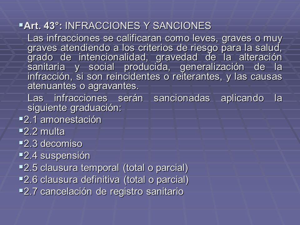 Art. 43°: INFRACCIONES Y SANCIONES