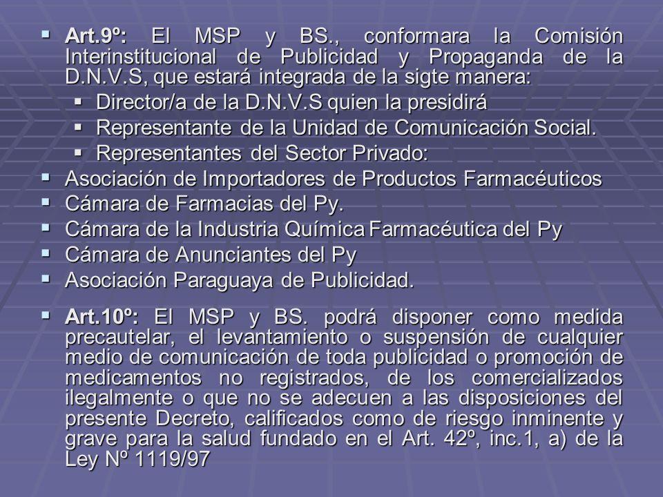 Art.9º: El MSP y BS., conformara la Comisión Interinstitucional de Publicidad y Propaganda de la D.N.V.S, que estará integrada de la sigte manera: