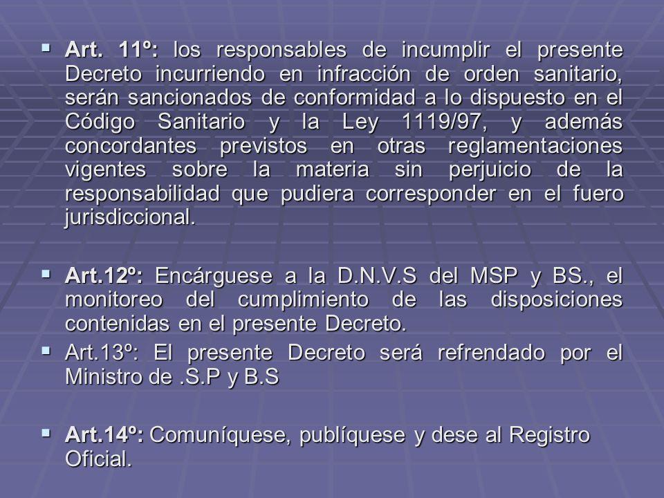 Art. 11º: los responsables de incumplir el presente Decreto incurriendo en infracción de orden sanitario, serán sancionados de conformidad a lo dispuesto en el Código Sanitario y la Ley 1119/97, y además concordantes previstos en otras reglamentaciones vigentes sobre la materia sin perjuicio de la responsabilidad que pudiera corresponder en el fuero jurisdiccional.