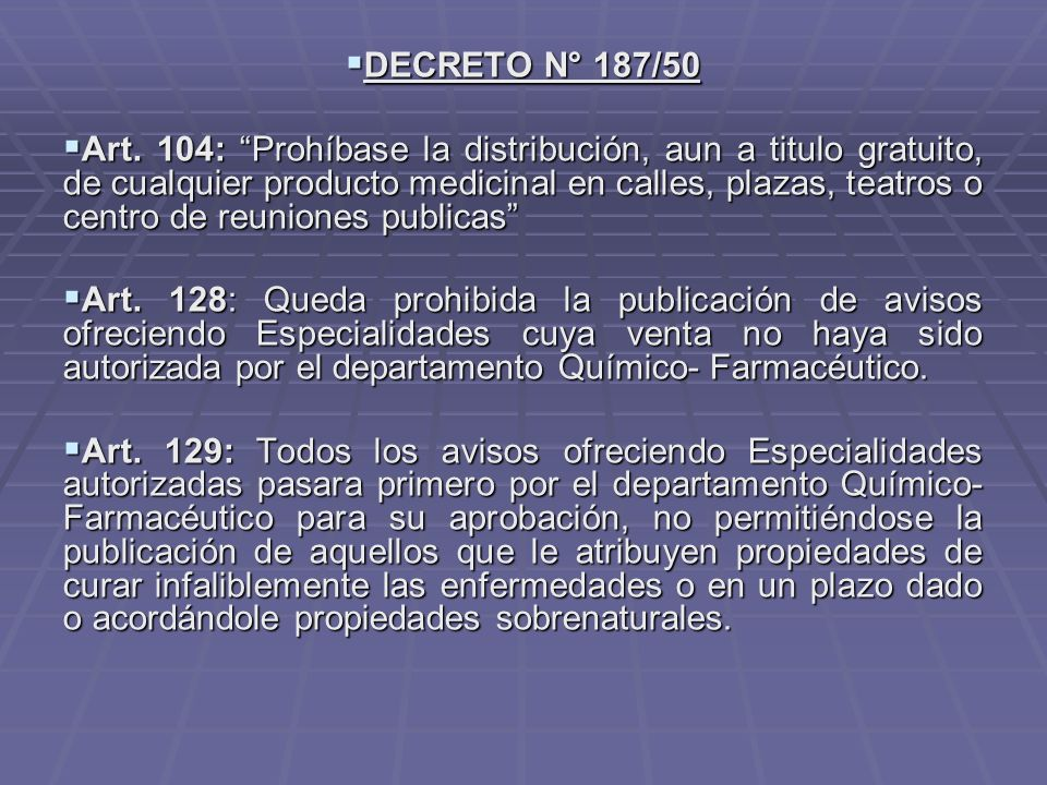 DECRETO N° 187/50