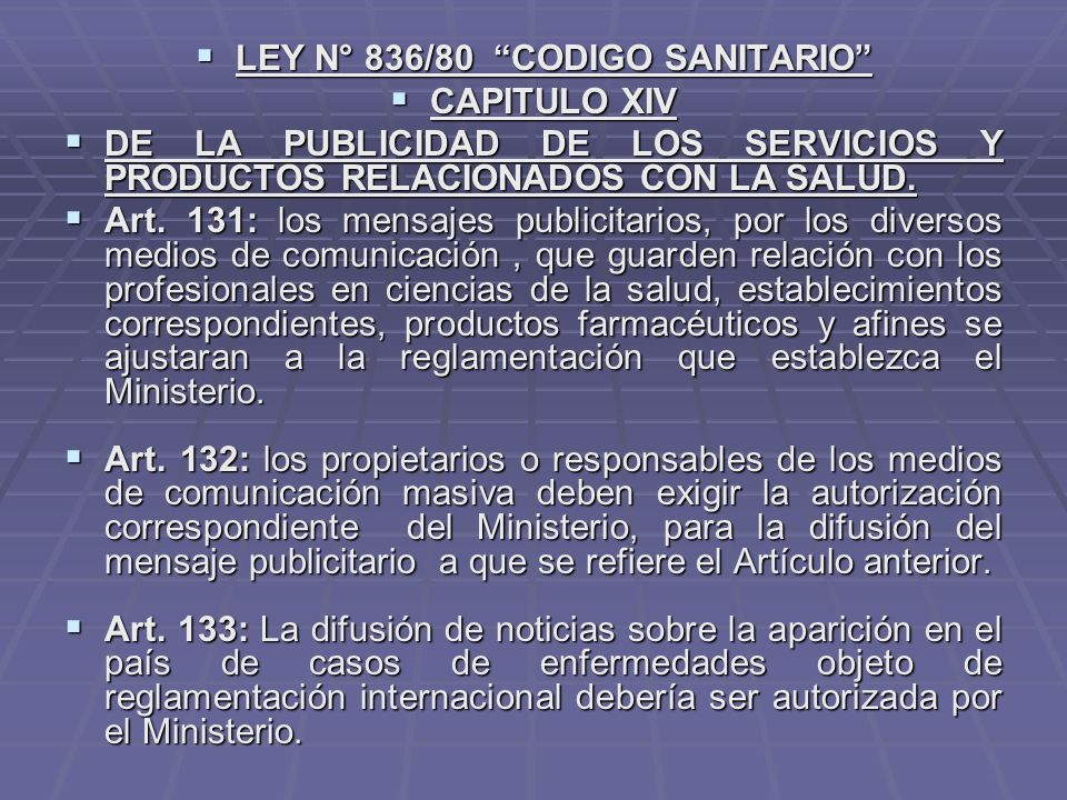 LEY N° 836/80 CODIGO SANITARIO