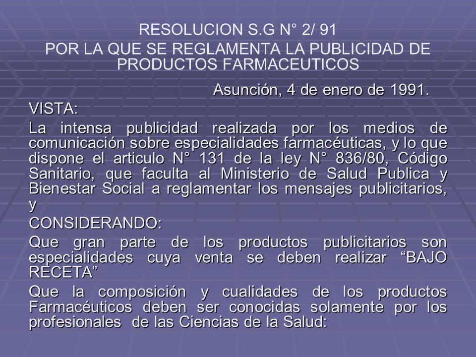 POR LA QUE SE REGLAMENTA LA PUBLICIDAD DE PRODUCTOS FARMACEUTICOS