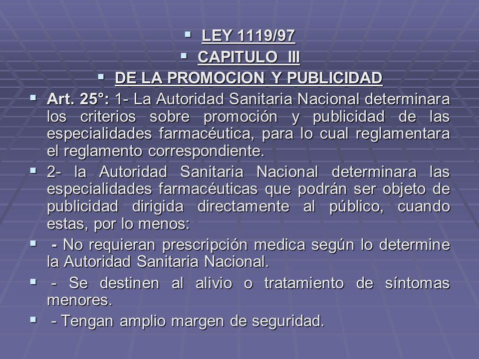 DE LA PROMOCION Y PUBLICIDAD