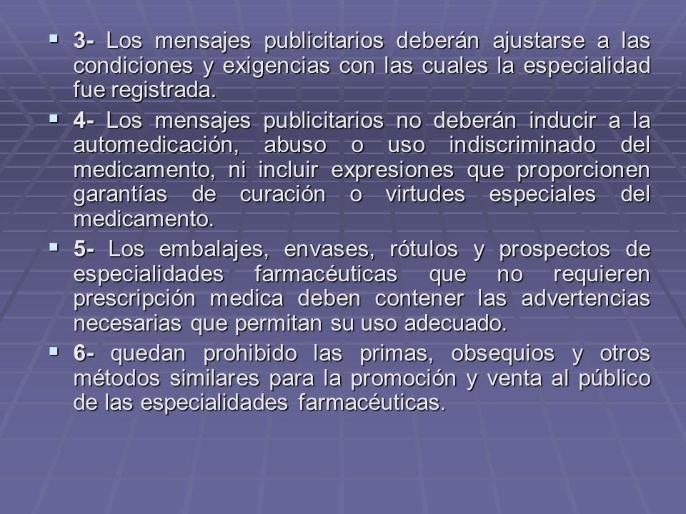 3- Los mensajes publicitarios deberán ajustarse a las condiciones y exigencias con las cuales la especialidad fue registrada.