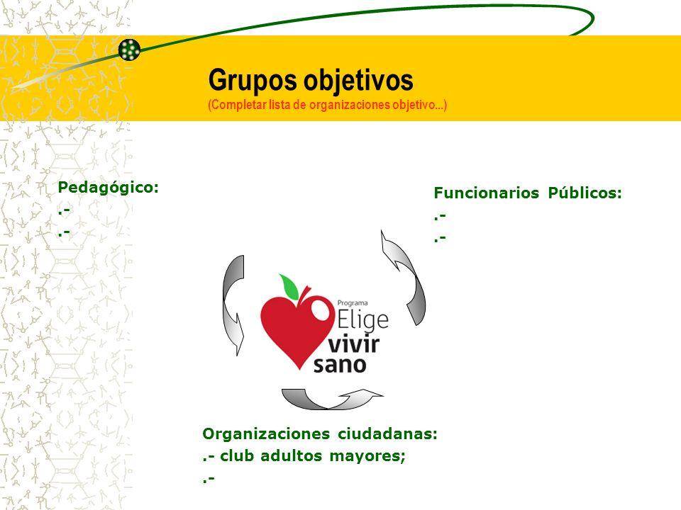 Grupos objetivos (Completar lista de organizaciones objetivo...)
