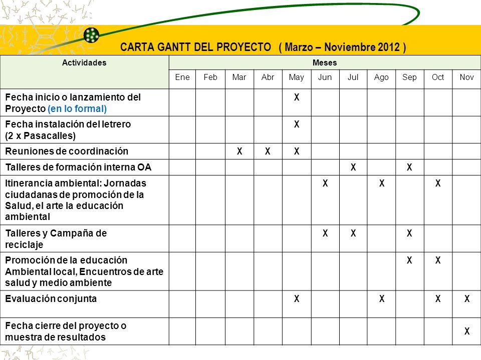 CARTA GANTT DEL PROYECTO ( Marzo – Noviembre 2012 )