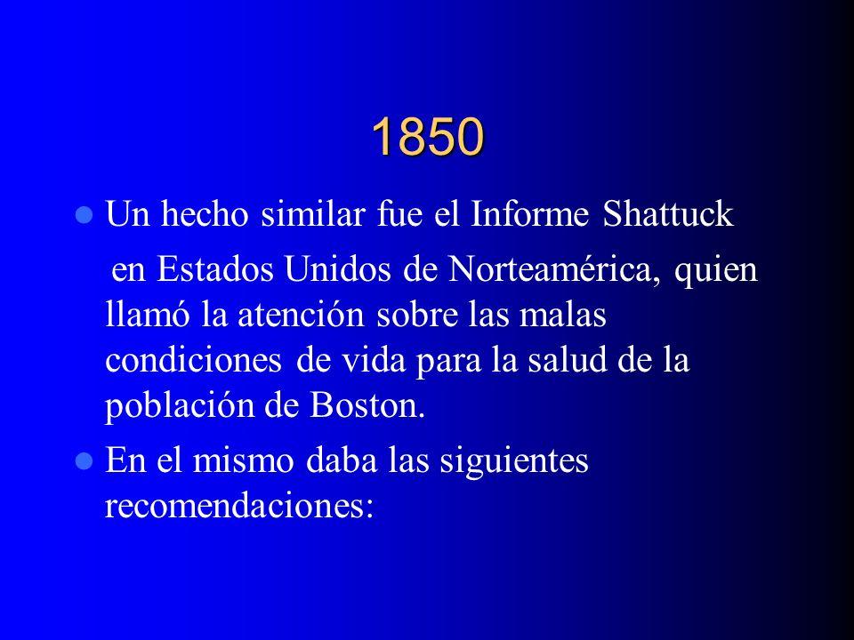 1850 Un hecho similar fue el Informe Shattuck