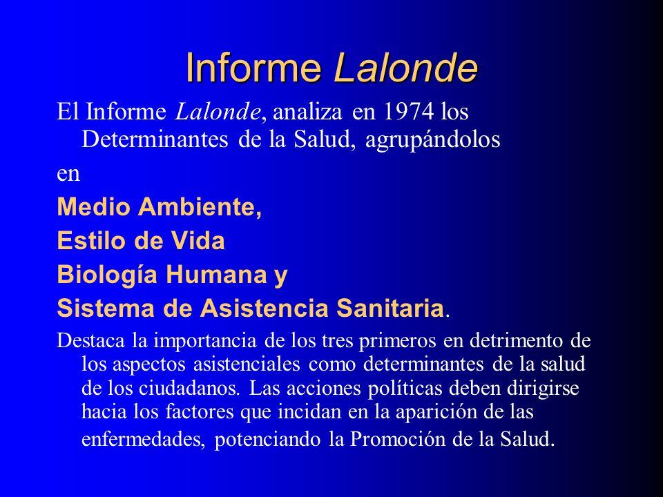 Informe Lalonde El Informe Lalonde, analiza en 1974 los Determinantes de la Salud, agrupándolos. en.