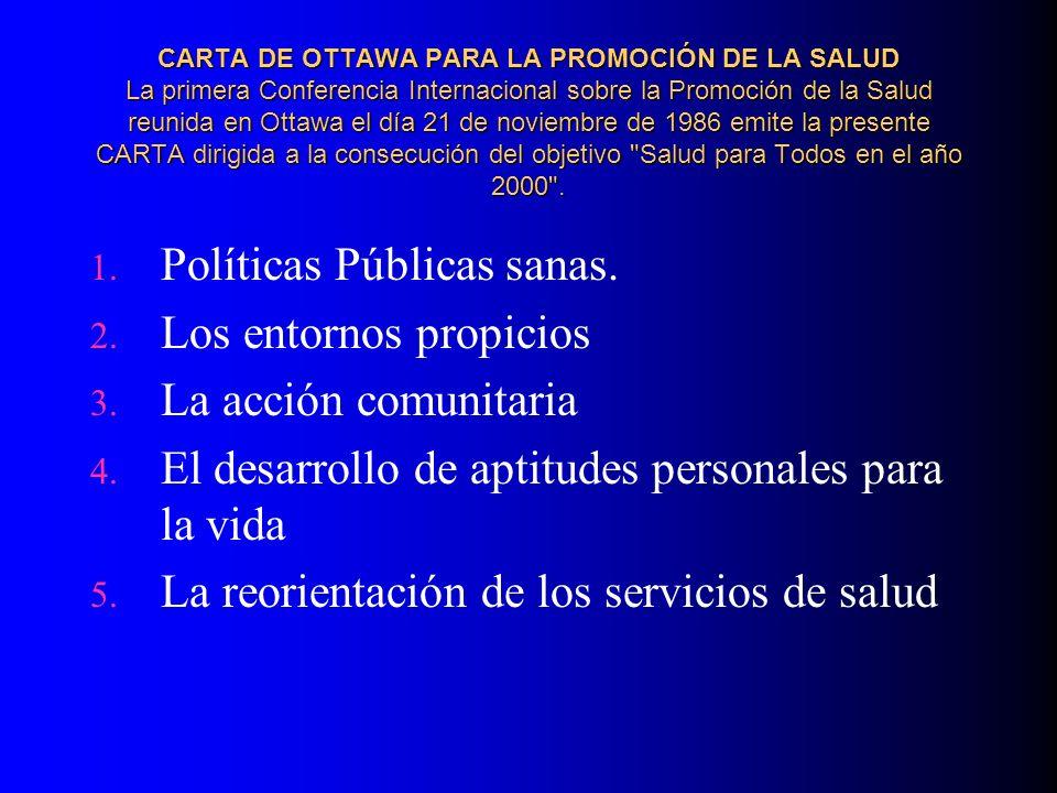 Políticas Públicas sanas. Los entornos propicios La acción comunitaria