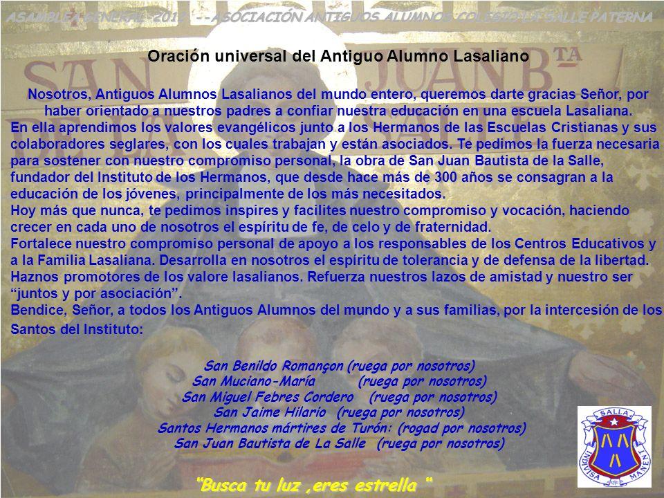 Oración universal del Antiguo Alumno Lasaliano