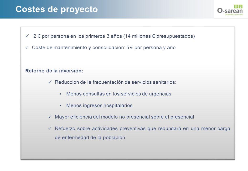 Costes de proyecto 2 € por persona en los primeros 3 años (14 millones € presupuestados)