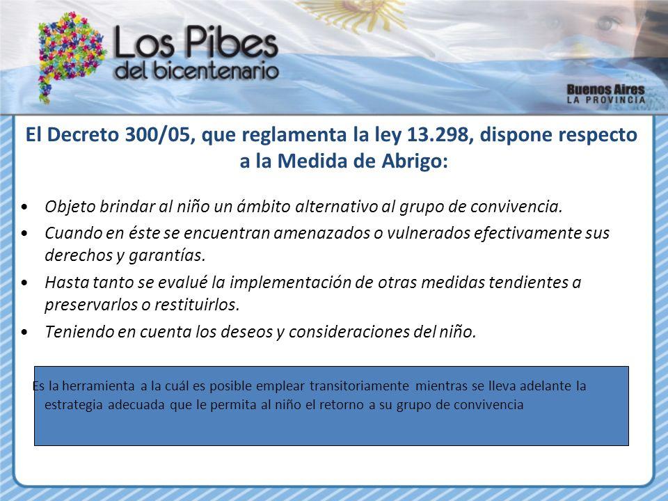 08/04/11 El Decreto 300/05, que reglamenta la ley 13.298, dispone respecto a la Medida de Abrigo: