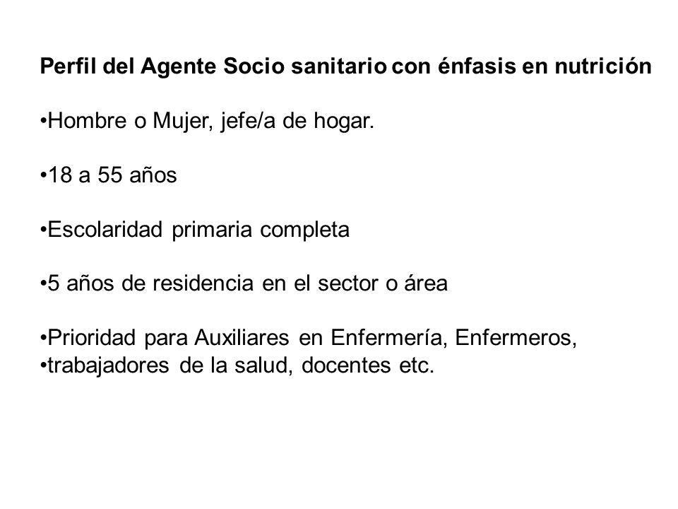 Perfil del Agente Socio sanitario con énfasis en nutrición